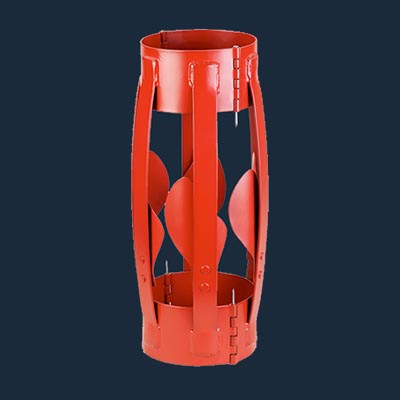 hinged welded centralizer with turbo fin